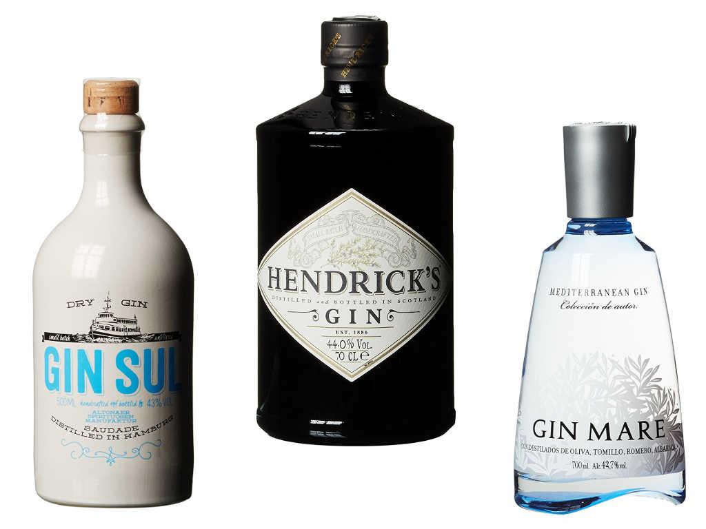 Beispiele für Dry Gin: Gin Sul, Hendriks & Gin Mare