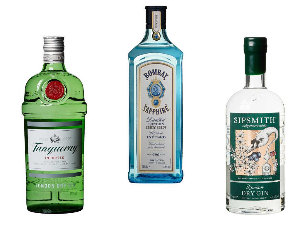 Beispiele für London Dry Gin: Tanqueray, Bombay Sapphire & Sipsmith Gin